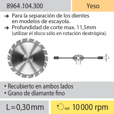 Discos: 8964.104.300 Yeso, Separación de dientes en modelos de yeso