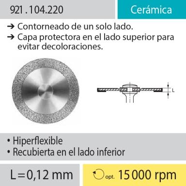 Discos: 921.104.220 Cerámica, Contorneado de un solo lado; Capa protectora en lado superior para evitar decoloraciones