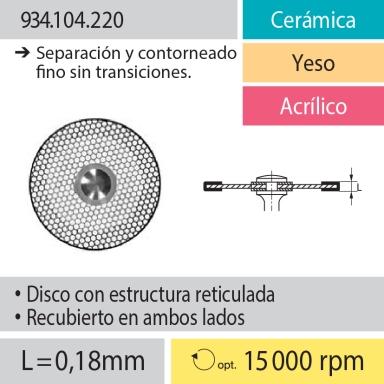 Discos: 934.104.220 Cerámica, Yeso y Acrílico, Separación y contorneado fino sin transiciones