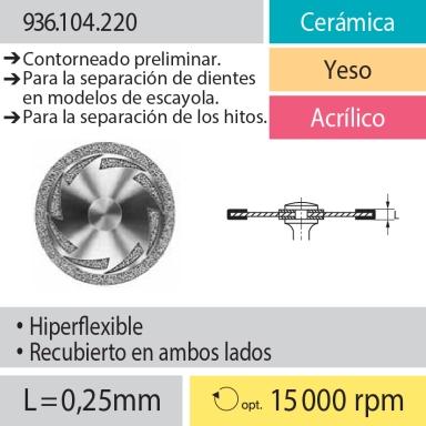 Discos: 936.104.220 Cerámica, Yeso y Acrílico, Contorneado preliminar; Para la separación de dientes en modelos de yeso; Separación de los hitos