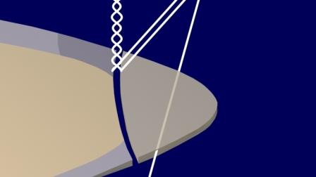 Un segundo rayo, paralelo al anterior, refleja en la superficie externa del esmalte, interfiriéndose con el anterior. Se crea la causa y se instala el Halo (zona sombreada sobre el esmalte vestibular).