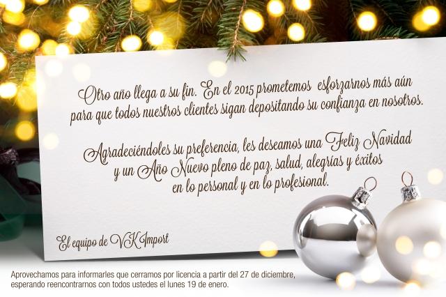 Otro año llega a su fin. En el 2015 prometemos  esforzarnos más aún  para que todos nuestros clientes sigan depositando su confianza en nosotros.  Agradeciéndoles su preferencia, les deseamos una Feliz Navidad  y un Año Nuevo pleno de paz, salud, alegrías y éxitos  en lo personal y en lo profesional.
